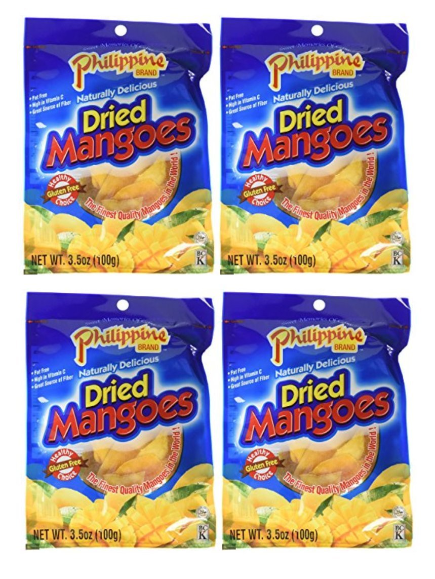 Philippine Brand Dried Mangoes, 3.53oz, 4 packs