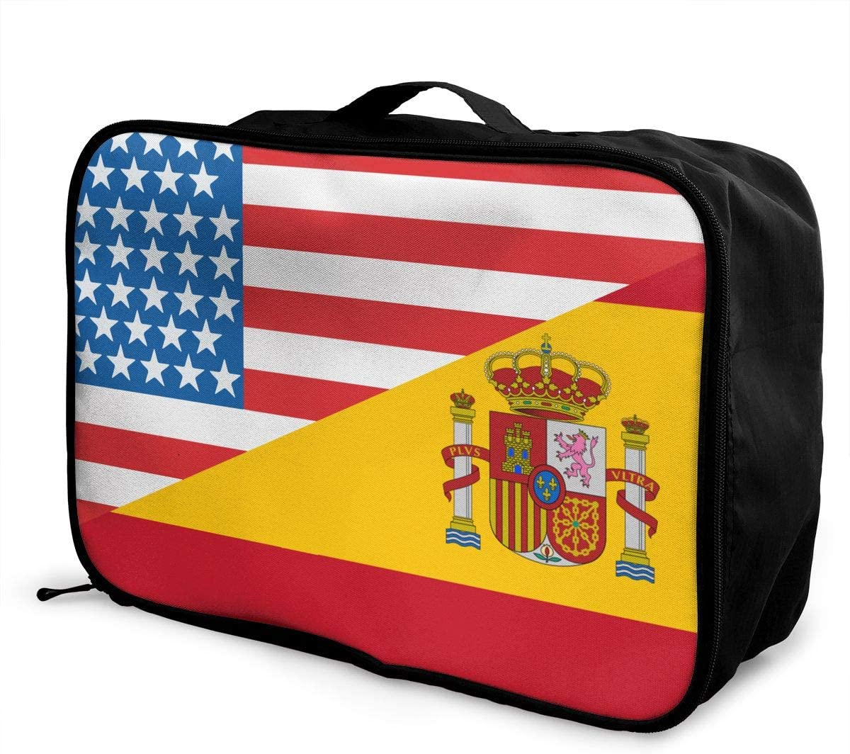 Half USA Half Spain Flag Overnight Carry On Luggage Waterproof Fashion Travel Bag Lightweight Suitcases