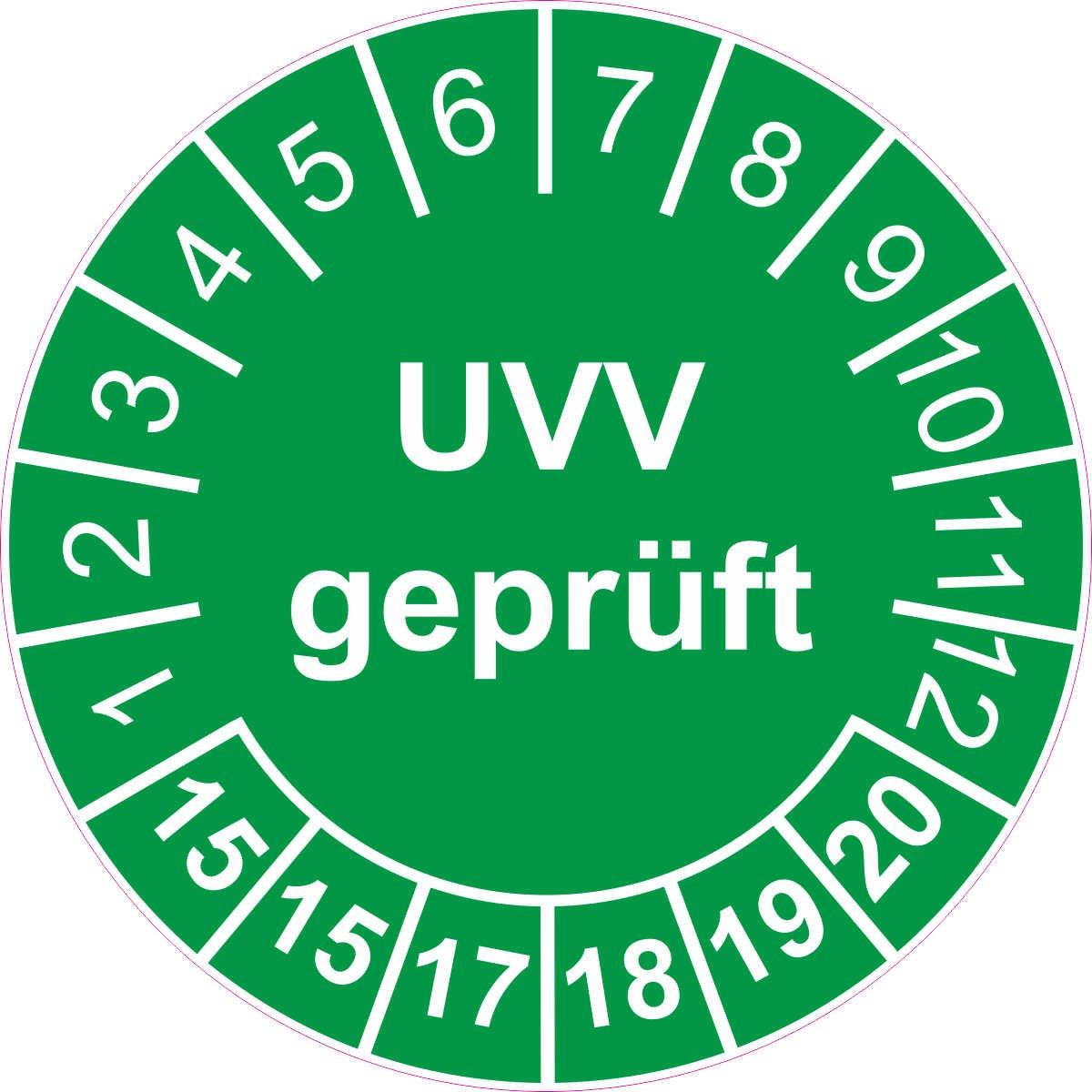 Prüfplakette / Prüfetikett / Prüfaufkleber 30 mm Durchmesser selbstklebend grün 50 Stück - UVV geprüft - 2015-2020