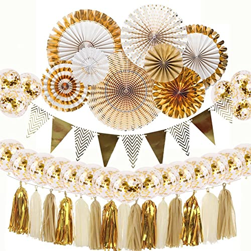 Gold Party Decorations 8 Pcs Paper Fan Flowers 20 Confetti Balloons Pennant Banner 15