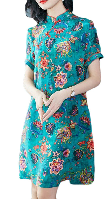 Etecredpow Women's Button Plain Floral Print Qipao Swing Ethnic Style Dresses Green M