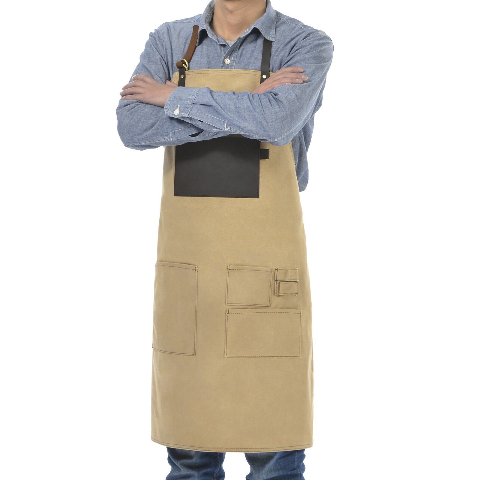 VEEYOO Heavy Duty Waxed Canvas Utility Apron with Pockets, Adjustable Shop Work Tool Welding Apron for Men and Women, Tan, 27x34 inches by VEEYOO (Image #2)