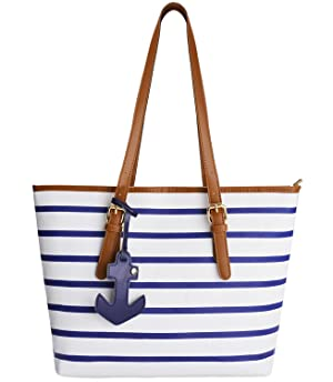 Beach Bag, Coofit Stripes Purse Tote Shoulder bag Womens Handbag PU Leather Purse with Sea Anchor Pendant Blue&White