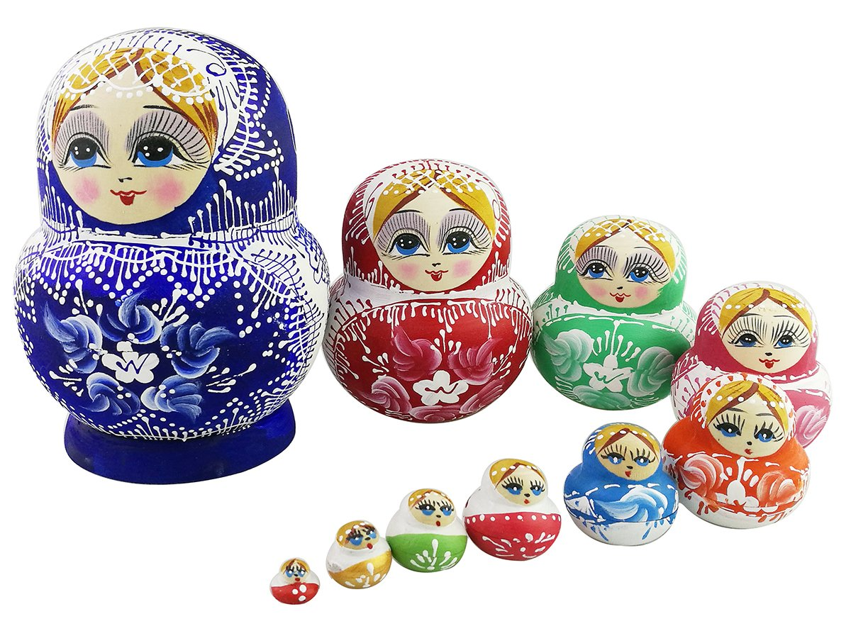 Set of 10 Pieces Cute Colorful Blue Porcelain Pattern Big Belly Shape Handmade Wooden Russian Nesting Dolls Matryoshka Dolls For kids Toy Birthday Christmas Gift Home Decoration