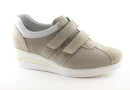 Zeppetta 17952 Sneakers Sportive Beige Donna Nero Giardini Scarpe 4wzqqH8