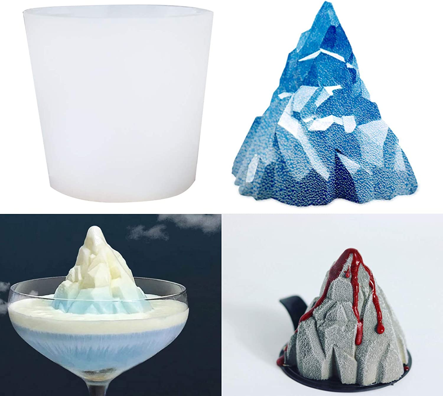 Sunsor 3D Snow Mountain Resin Silicone Mold Volcano Casting Mould for Soap Candle Aromatherapy Ice Cube Home Decoration Crafts