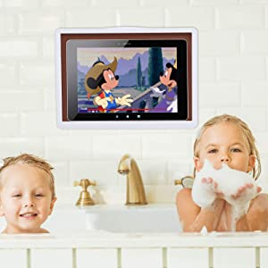 Shower ipad Holder. Especially Available for bathrooms and Kitchens. Water Proof, HD, Anti-Fog Touch Screen; Compatible with Tablets Under 13 inches (White)