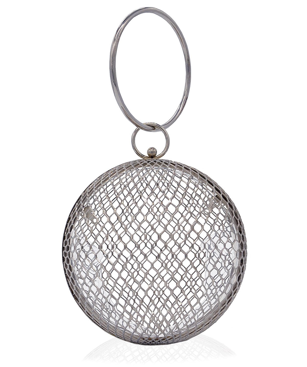 Miuco Women Chain Crossbody Bags Hollow Out Cage Metal Round Clutch Silver