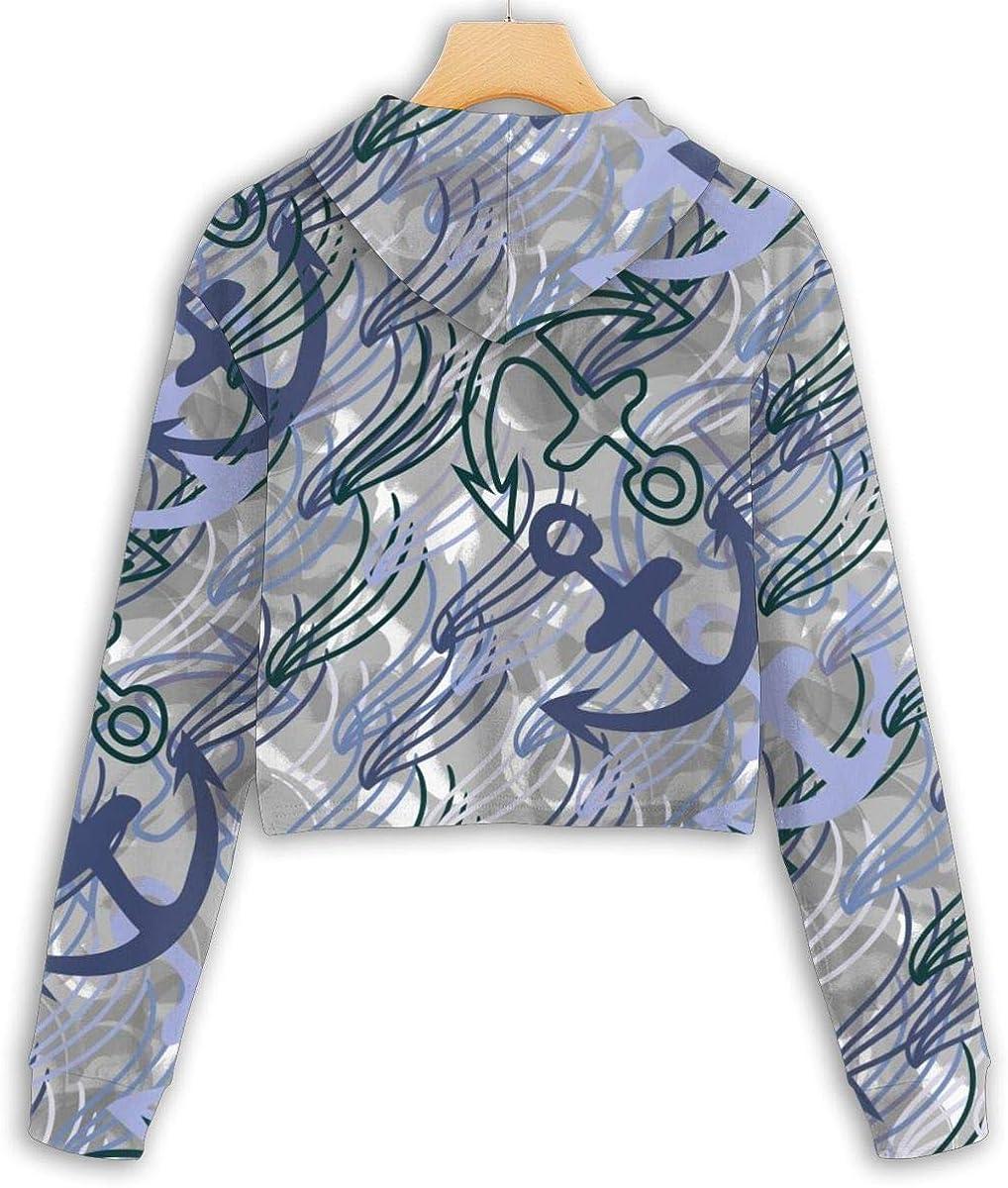 Seaweed and Anchors Pattern Cropped Hoodie,Womens Sweater,Women Long Sleeve Pullover Hooded Sweatshirt