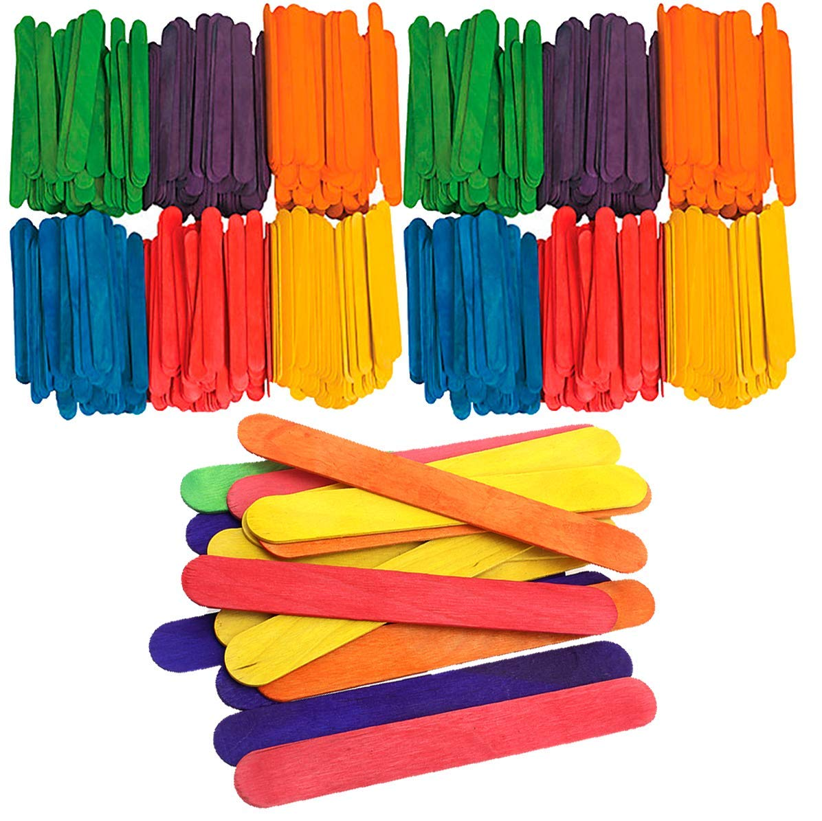 Kicko Jumbo Popsicle Sticks - Wooden Colored Craft Stix 5.5 x .75 Inches - 200 Pack Large Assortment Pop Sticks - for Kids, DIY Projects, School Supplies, and Crafting