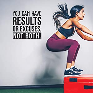 """Vinyl Wall Art Decal - You Can Have Results Or Excuses Not Both - 22"""" x 22"""" - Modern Motivational Quote for Home Gym Office Workplace Fitness Center Decoration Sticker"""