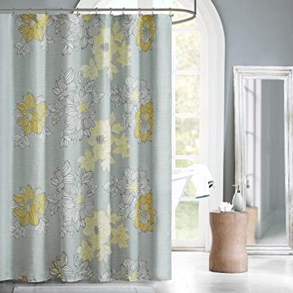 Madison Park Avalon Print Fabric Shower Curtain Floral Casual Curtains For Bathroom 72
