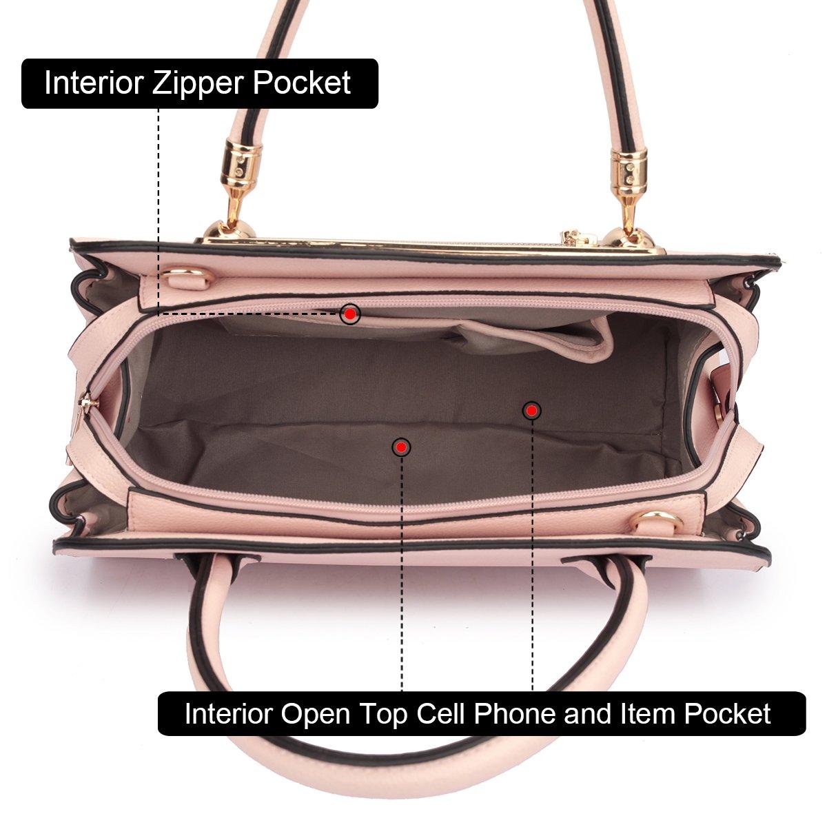Women Structured Satchel Bags Vegan Leather Handbag Top Handle Purse Fashion Shoulder Bag with Fringed Tassel by Dasein (Image #5)
