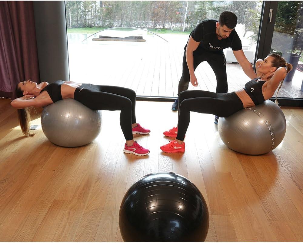 Fitness TechFit Ballon d/'Exercice Premium Fitness Anti Burst 65 cm Pompe Incluse Equilibre Yoga
