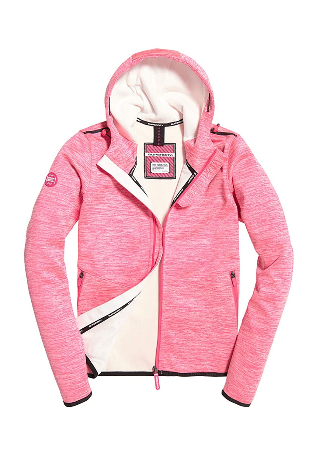 Superdry Women's Prism Hooded SD Windtrekker Jacket Berry SlubEcru