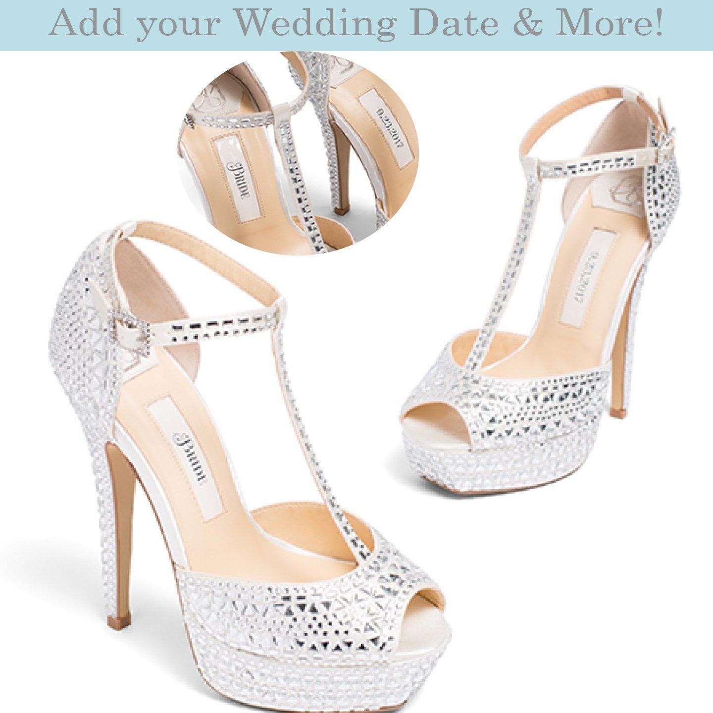 "6a8a89e21d7e Amazon.com  Bridal Women s Platform High Heel Satin Wedding Shoe with  Rhinestone Encrusted Heel in Ivory– Kate Whitcomb Shoes style ""Bianca""   Handmade"