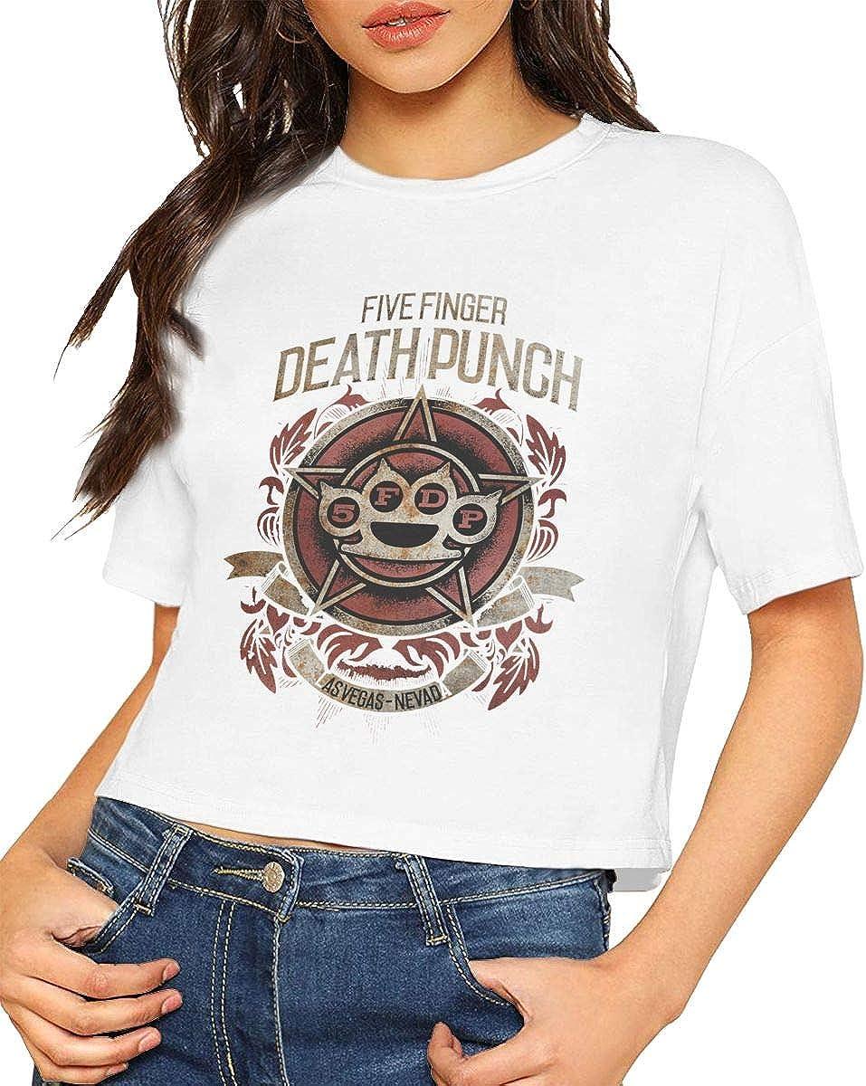 Kemeicle Women Five Finger Death Punch Badge Logo Short Sleeves Crop Top T Shirt