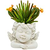 GiveU 5.5''H Angel Statue Crafted Head Face Planter Pot, Flower Pot with Drainage Hole Perfect for a DIY Succulents Plants, M