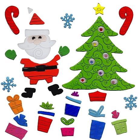 christmas window clings santa and christmas tree gel charms - Christmas Tree Santa