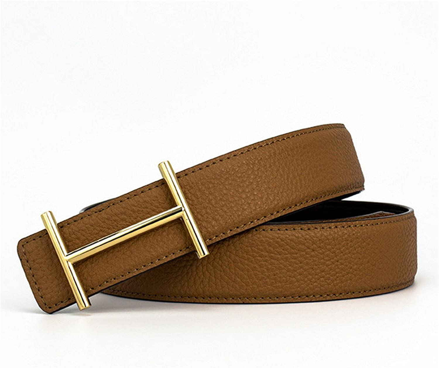 HuoGuo Mens Leather Belts Luxury H Smooth Buckle Belts For Men 5 Colors Litchi Grain Leather Belt