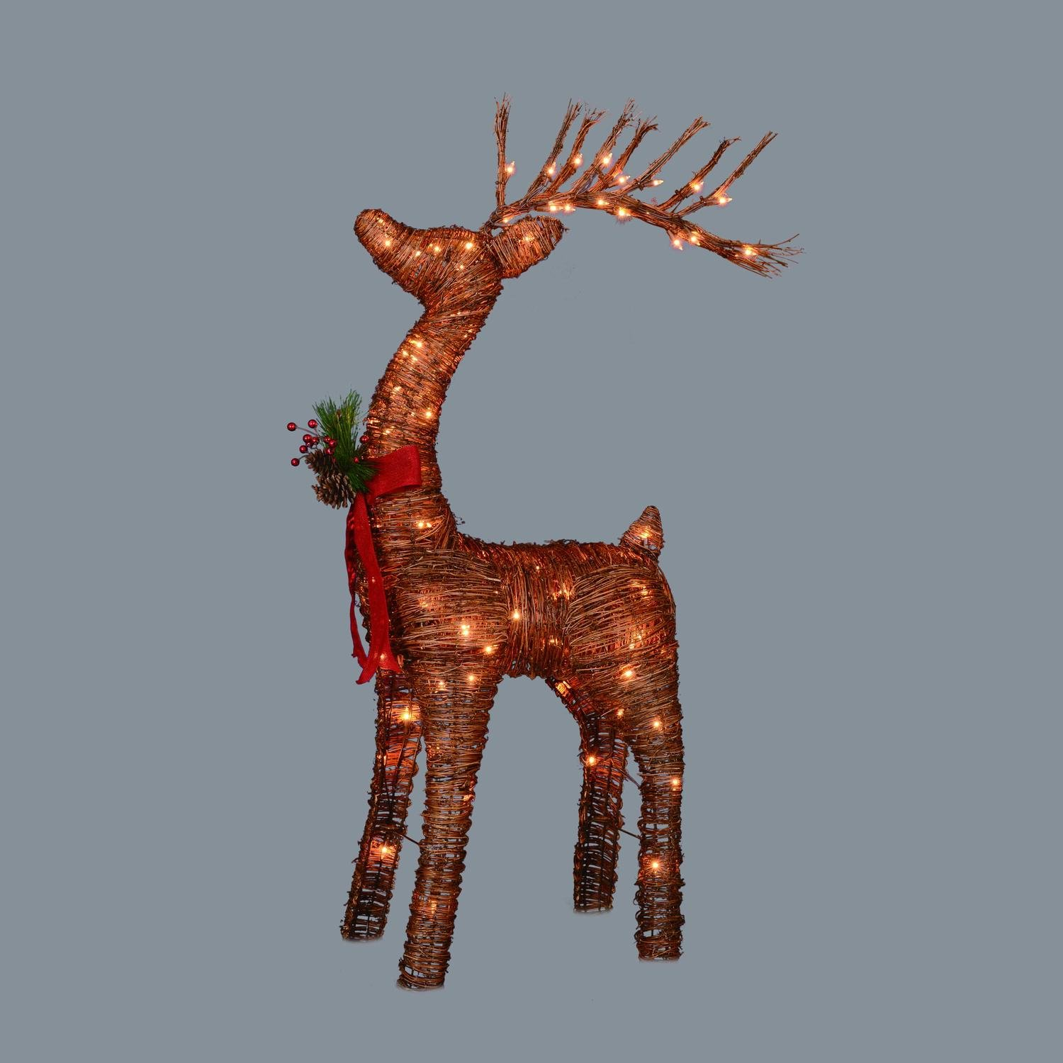 48'' Pre-Lit Standing Rattan Reindeer with Red Bow and Pine Cones Christmas Yard Art Decoration