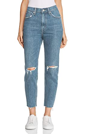 adc74151223 H HIAMIGOS Womens High Waist Loose Fit Straight Leg Jeans Boyfriend Denim  Pant Knee Ripped Light