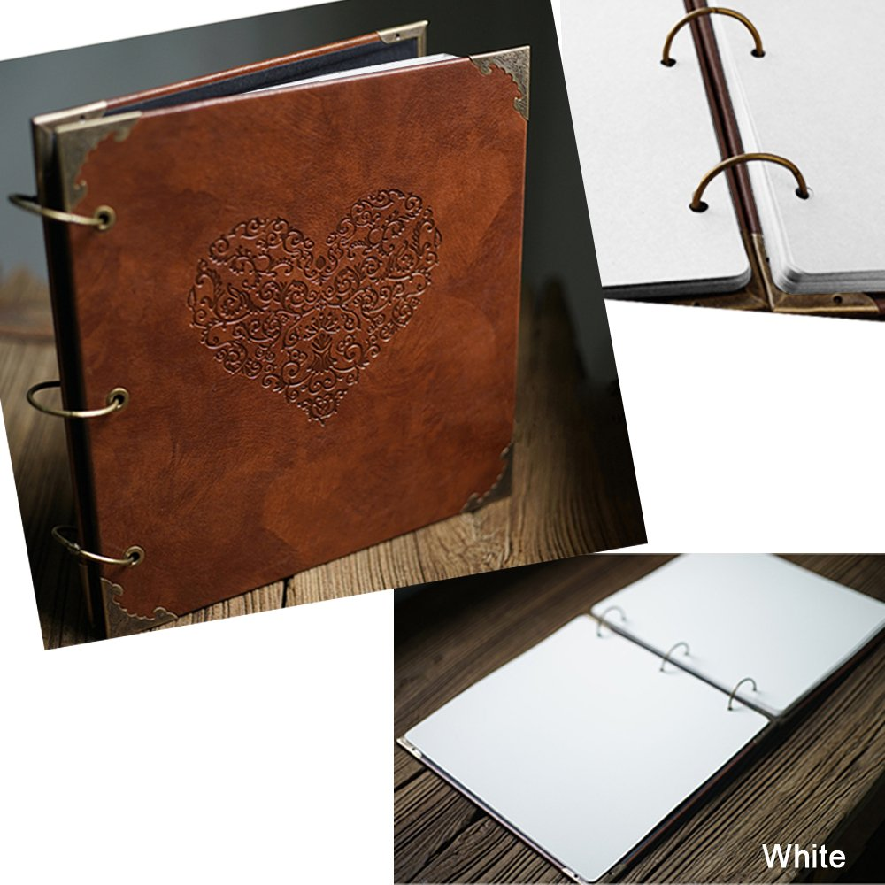 10x10 inch 50 Pages Double Sided ADVcer Photo Album DIY Scrapbook Vintage Hardcover Three-Ring Binder Picture Booth Albums with 6 Colors 408pcs Self Adhesive Photos Corners for Memory Keep Blue ADVcer Direct
