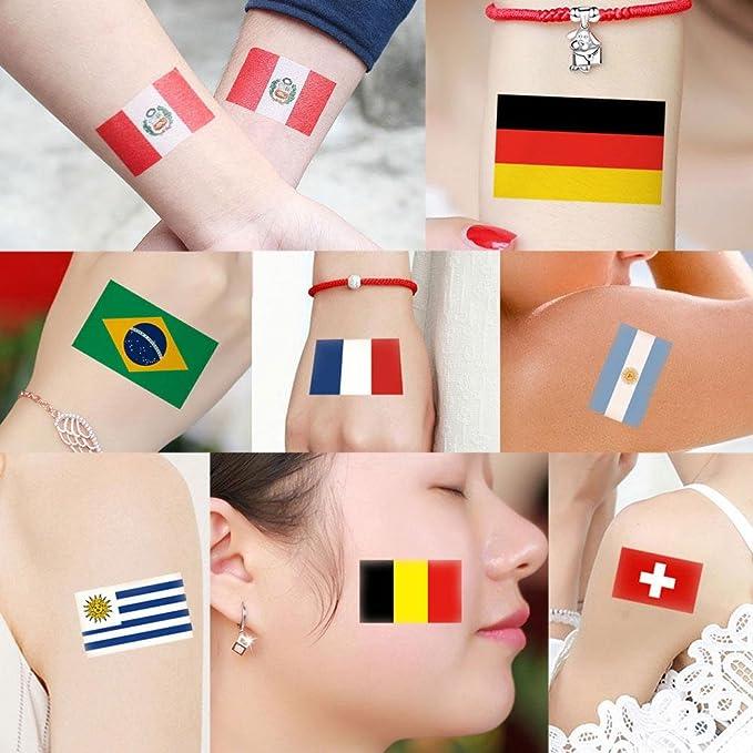 KOBWA Etiquetas adhesivas de bandera de varios países, diseño de la Copa Mundial de la FIFA 2018, 50 unidades: Amazon.es: Belleza