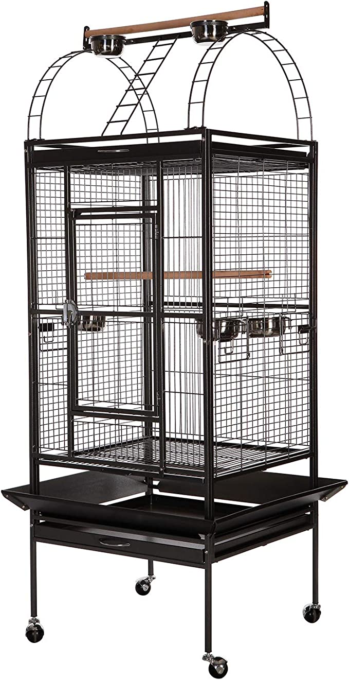 Vecela Bird Cage Play Top Parrot Cage 68 Inch Large Bird Cage With Unique Circular Staircase Birdcage For Parrot Large Pet House Black Pet Supplies