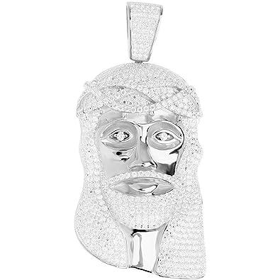 Premium bling 925 sterling silver jesus head pendant amazon premium bling 925 sterling silver jesus head pendant aloadofball Images