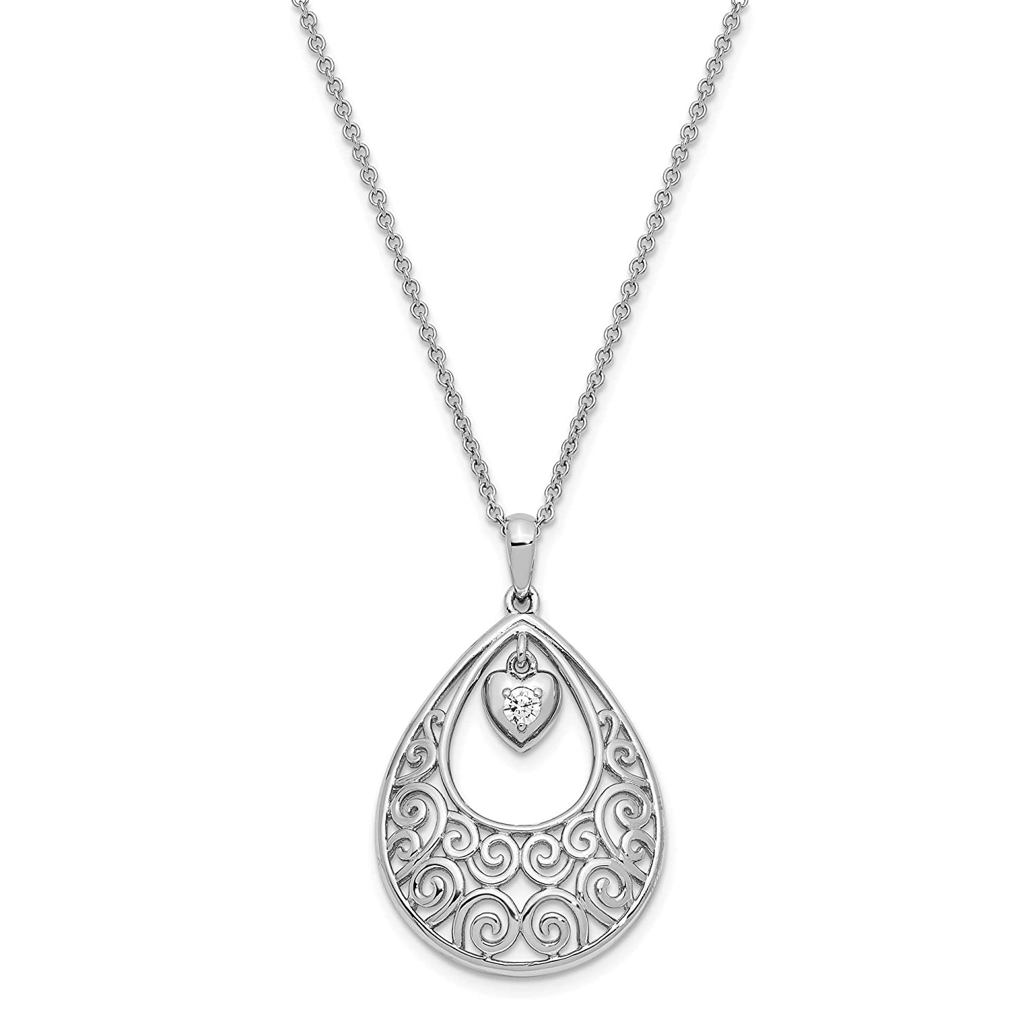 925 Sterling Silver Polished CZ Without You Teardrop Pendant Necklace 18 by Sentimental Expressions