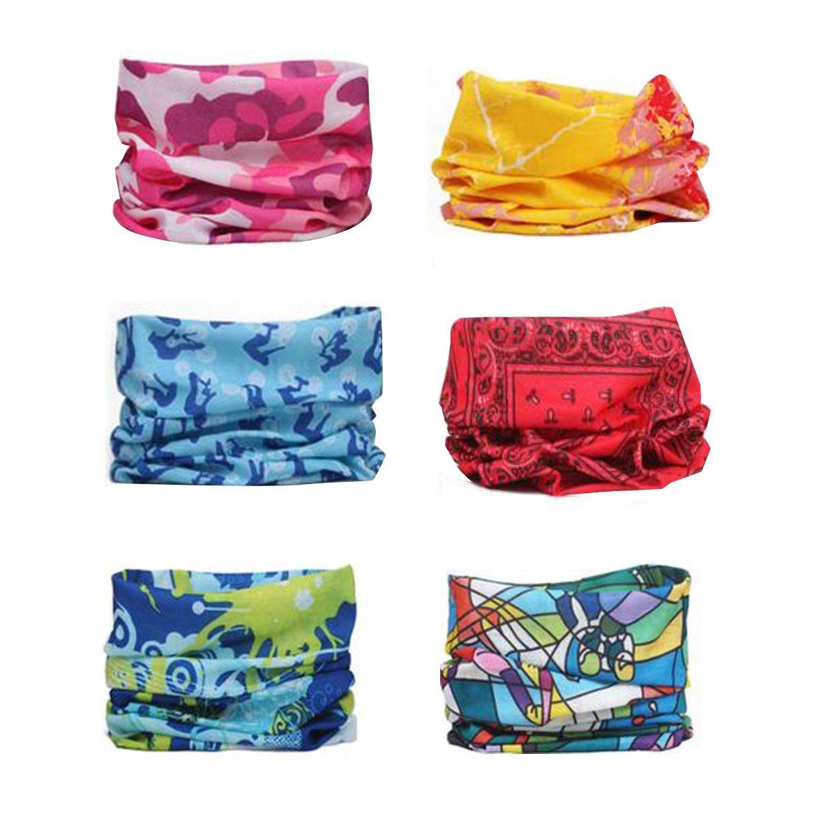 Sea Team Surtido variado con 6 telas de poliéster para la cabeza, se puede utilizar como braga, pañuelos, pasamontañas, máscara y otros.