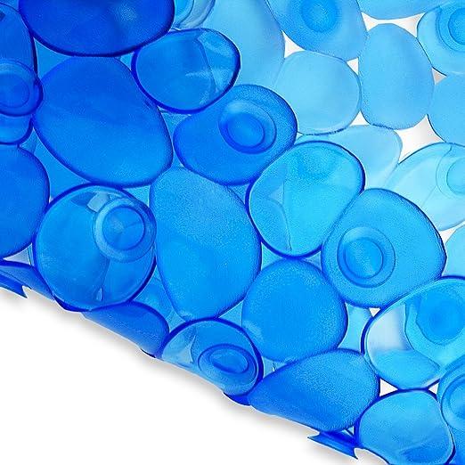 Azzurro fair Tappeto Vasca da Bagno Gommato Antiscivolo in PVC Sassolini 70 x 36 cm