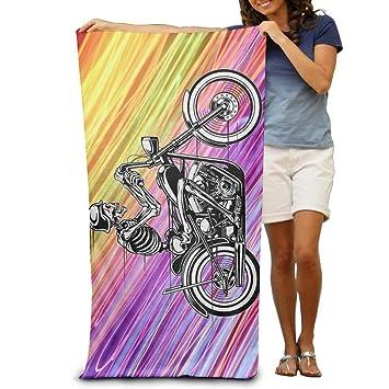 Home Hotel - Toallas de baño, sábanas de esqueleto para motocicleta, moto arcoíris (31