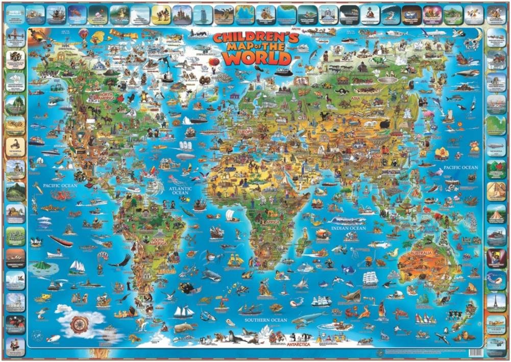 Amazon childrens map of the world educational poster laminated amazon childrens map of the world educational poster laminated poster 54 x 38in children world map posters prints gumiabroncs Choice Image