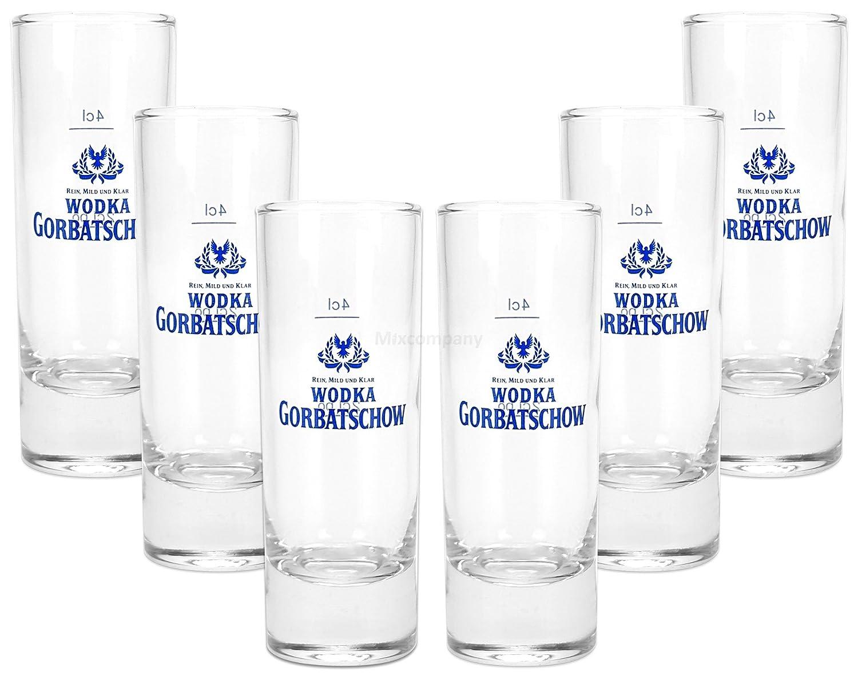 Wodka Gorbatschow Vodka Shotglas Glas Gl/äser Set 6X Shotgl/äser 2//4cl geeicht
