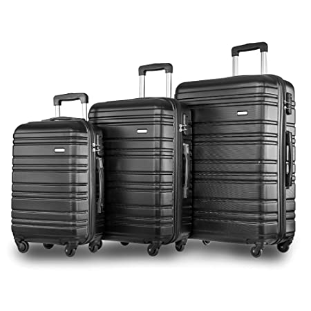 1f3f4f2b13b0 Merax ® Set of 3 Light Weight Hardshell 4 wheel Travel Trolley Suitcase  Luggage Set Holdall Case-20/24/28 inch (Black)