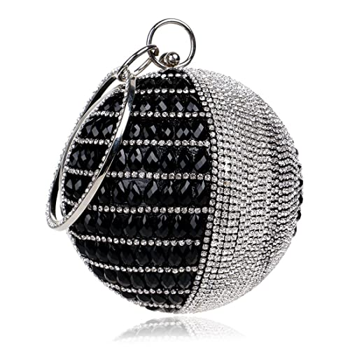 d0ab12d9e2 Flada Women's Round Shape Purse Rhinestone Ball Clutch Evening Bag Black