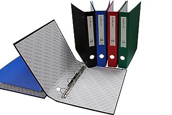 40010 - Set de 3 Archivadores con 4 anillas, tamaño A4, colores variados: Amazon.es: Oficina y papelería