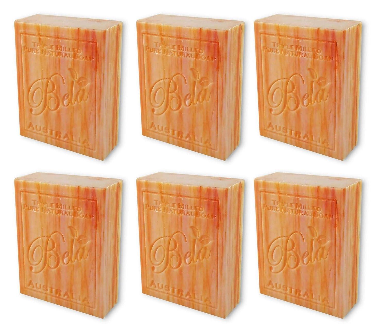 Bela Bath & Beauty, Orange Zest, Triple French Milled Moisturizing Soap Bars, No Harsh Ingredients, 3.5 oz each - 6 Pack