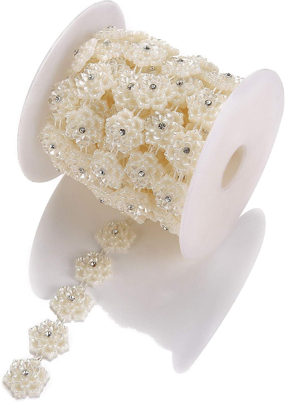 Praknu Ruban d/écoratif avec Fleurs et Strass Blanc 450 cm Ruban Strass /à Coudre//d/écorer. 2 cm de Large
