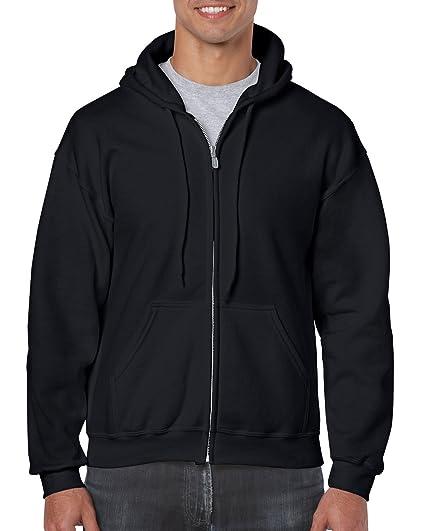 f29fb35d Gildan Heavy Blend Unisex Adult Full Zip Hooded Sweatshirt Top (S) (Black)