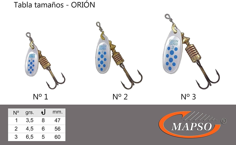 5 Spinners de Pesca ORI/ÓN-1 3,50 GMS. MAPSO