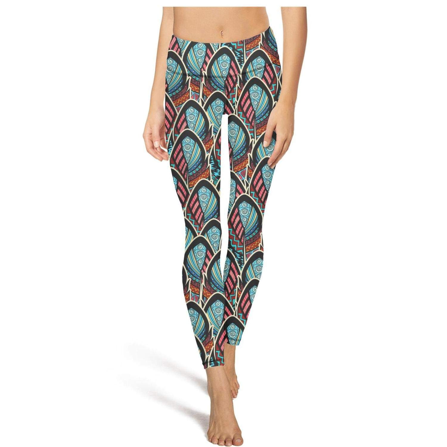 Womens Ornate Vintage Feathers Workout Running Leggins Tummy Control Gym Yoga Pants with Pockets