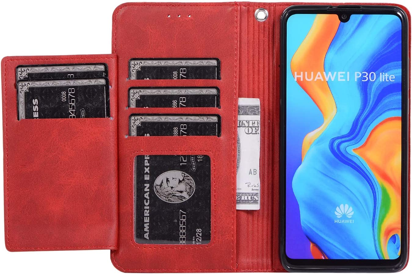 ZCXG Compatible With Case Huawei P30 Lite Case Leather Huawei P30 Lite red