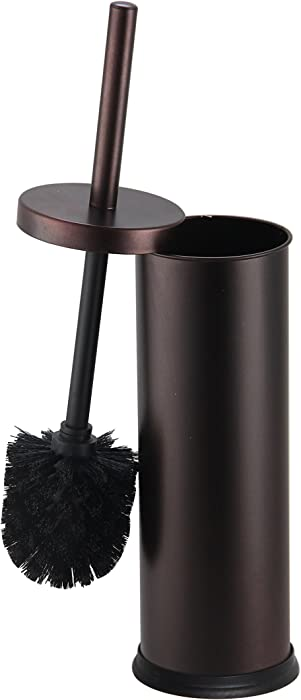 Home Basics Toilet Bowl Brush with Holder For Bathroom Storage, Bronze