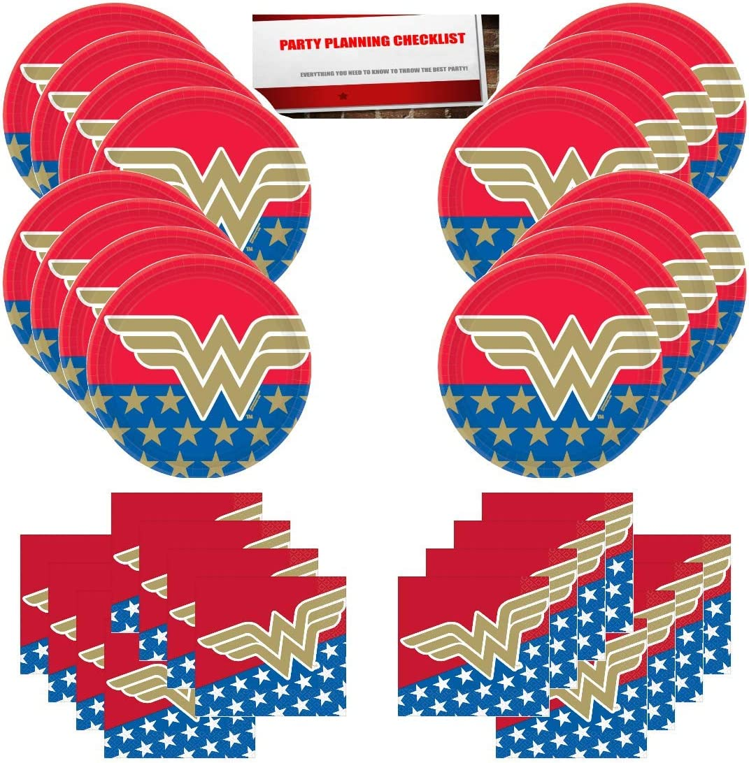 Wonder Woman Girl Hero Birthday Party Supplies Bundle Pack for 16 Guests (Plus Party Planning Checklist by Mikes Super Store)