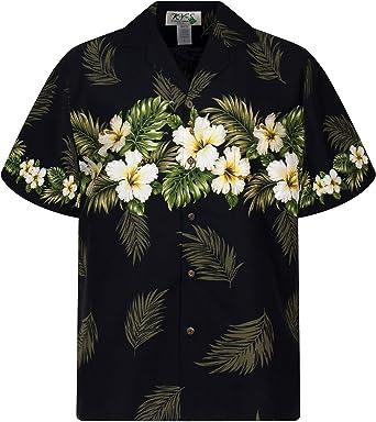 KYs | Original Camisa Hawaiana | Caballeros | M - 4XL | Manga Corta | Bolsillo Delantero | Estampado Hawaiano | Flores | Negro: Amazon.es: Ropa y accesorios
