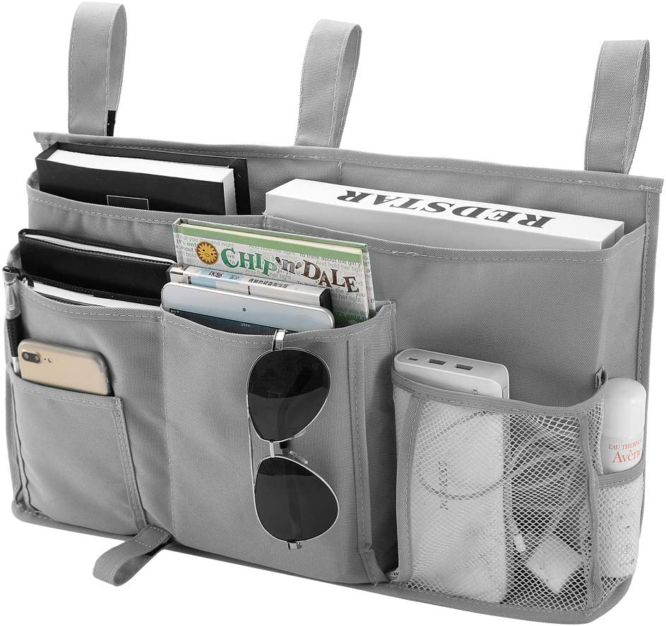 Bseash 8 Pockets 600D Oxford Cloth Caddy Hanging Organizer Bedside Storage Bag for Bunk and Hospital Beds,Dorm Rooms Bed Rails (Gray)