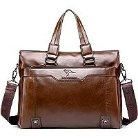 Men's 15.6 Inch Laptop Bag - Business Leather Briefcase Messenger Bag Office Bag Travel Bag (Brown)